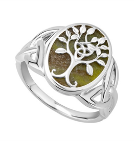 S/S Connemara Marble Tree of Life Ring