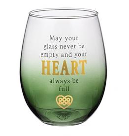Celtic Heart Stemless Wine Glass