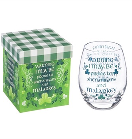 Evergreen Enterprises Irish Blessing Stemless Wine Glass with Matching Box