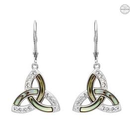 S/S Abalone & Swarovski Trinity Knot Drop Earrings