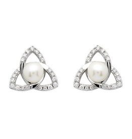 S/S Trinity Knot Pearl Stud Earrings