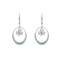 S/S Green Shamrock Drop Earrings