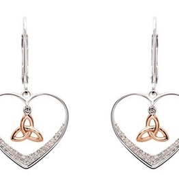 S/S CZ Rose GP Trinity Knot Drop Earrings