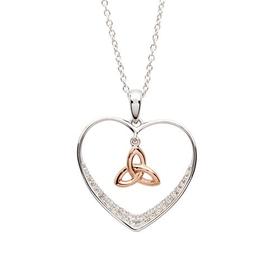 S/S CZ Rose GP Trinity Knot Heart Necklace