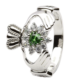 S/S Green CZ Cluster Claddagh Ring