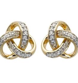 14K Gold Diamond Set Trinity Knot Stud Earrings