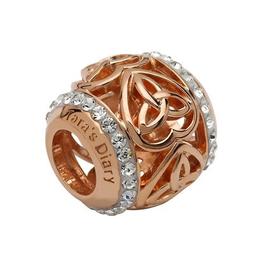 S/S Swarovski Rose Gold Trinity Heart Bead