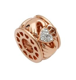 S/S Swarovski Rose Gold Claddagh Bead
