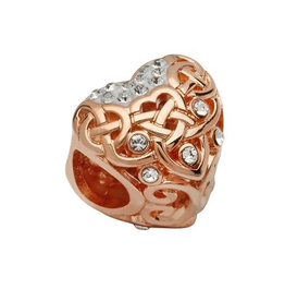 S/S Swarovski Rose Gold Celtic Heart Bead
