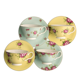 Aynsley Aynsley Archive Rose Teacups & Saucers, Set of 4