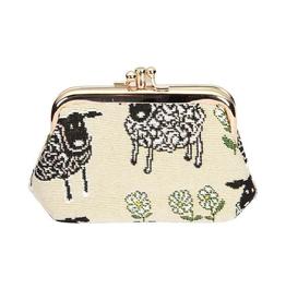 Tapestry Frame Purse, Sheep & Daisy, White