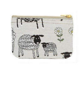 Tapestry Zip Coin Purse, Sheep & Daisy, White