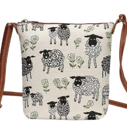 Tapestry Sling Bag, Sheep & Daisy, White