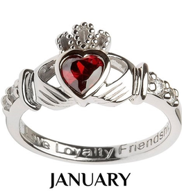 S/S Claddagh January Birthstone Ring