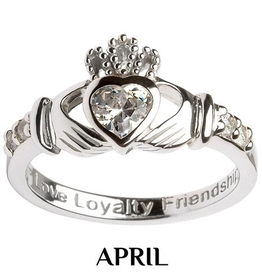 S/S Claddagh April Birthstone Ring