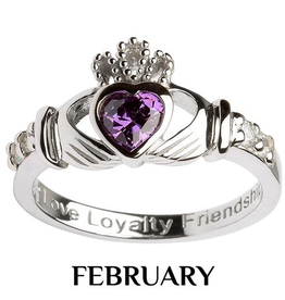 S/S Claddagh February Birthstone Ring