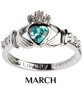 S/S Claddagh March Birthstone Ring