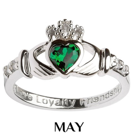 S/S Claddagh May Birthstone Ring