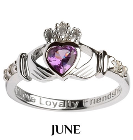 S/S Claddagh June Birthstone Ring