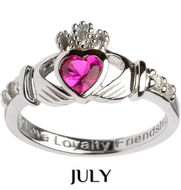 S/S Claddagh July Birthstone Ring