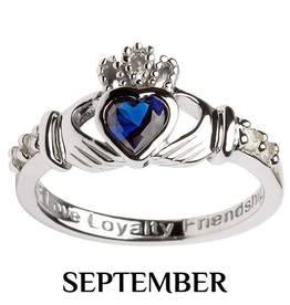 S/S Claddagh September Birthstone Ring