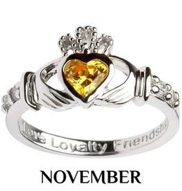 S/S Claddagh November Birthstone Ring