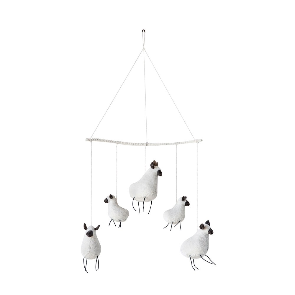 Creative Co-Op Wool Felt Sheep Baby Mobile