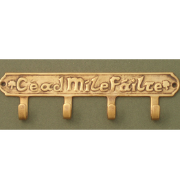 'Cead Mile Failte' Key Holder with 4 Hooks, Antique Brass
