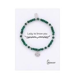 Lucky To Know You Shamrock Bracelet, Silver