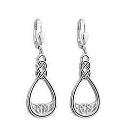 S/S Black Enamel Celtic Twist Drop Earrings