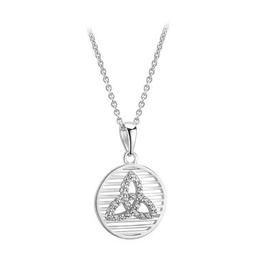 S/S CZ Trinity Knot Round Disc Necklace