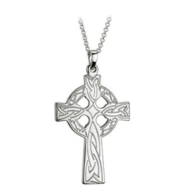 S/S Engraved Celtic Cross Necklace