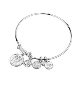 Silver Tone Irish Dance Charm Bangle