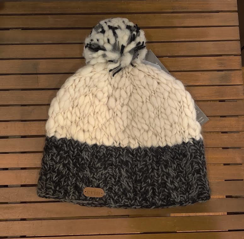 Uneven Wool Bobble Hat with Aran Cable Band