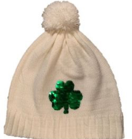 Sequin Shamrock Bobble Hat