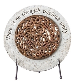 Bronze Celtic Knot Garden Stone with Stand - 6.5""