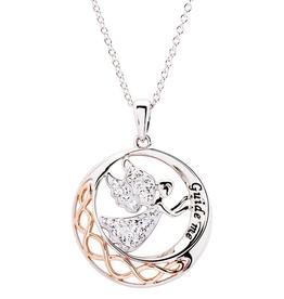 S/S Swarovski Guide Me Angel Celtic Knot Necklace