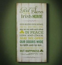 Irish Home Plaque
