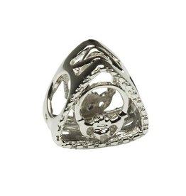 S/S Diamond Set Claddagh Triangle Bead