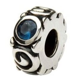 Silver Spiral December Birthstone Bead