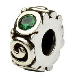 Silver Spiral May Birthstone Bead