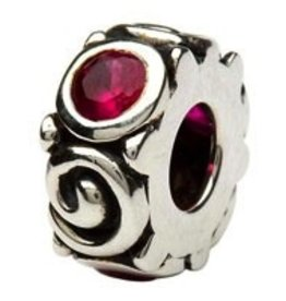 Silver Spiral July Birthstone Bead