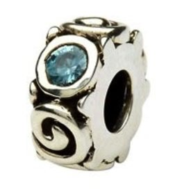 Silver Spiral March Birthstone Bead