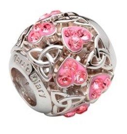 S/S Trinity Knot Heart Bead Encrusted w/ Pink Swarovski Crystals