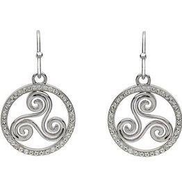 S/S Swarovski Triscal Celtic Drop Earrings