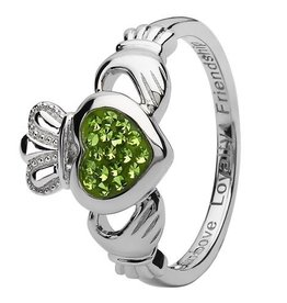 S/S Swarovski Claddagh Ring