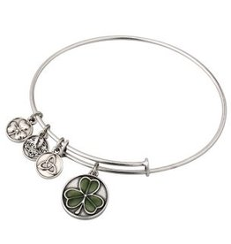 Silver Tone Enamel Shamrock Charm Bangle