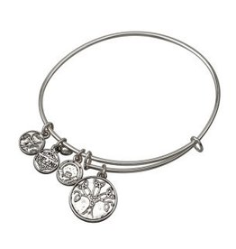 Silver Tone Tree Of Life Charm Bangle