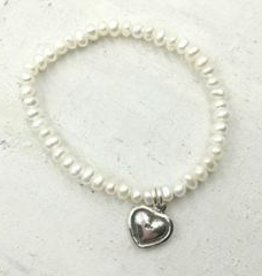 Pearly Girls Child's Elastic Bracelet with Sterling Silver Heart