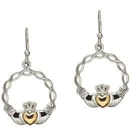 S/S GP Celtic Weave Claddagh Earrings